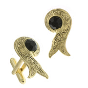14K Gold Dipped Black Crystal Ribbon Cufflinks