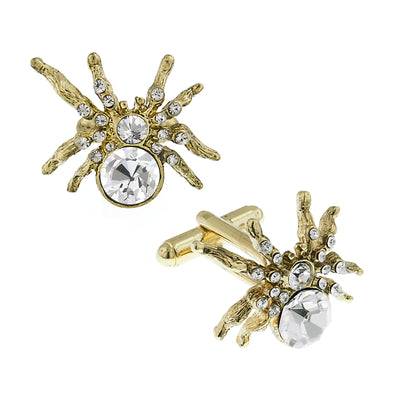 1928 Jewelry 14K Gold Dipped Crystal Spider Cufflinks