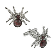 Silver Tone Dark Red Crystal Spider Cufflinks