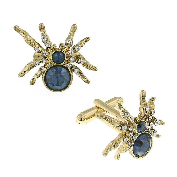 14K Gold Dipped Blue And Crystal Spider Cufflinks