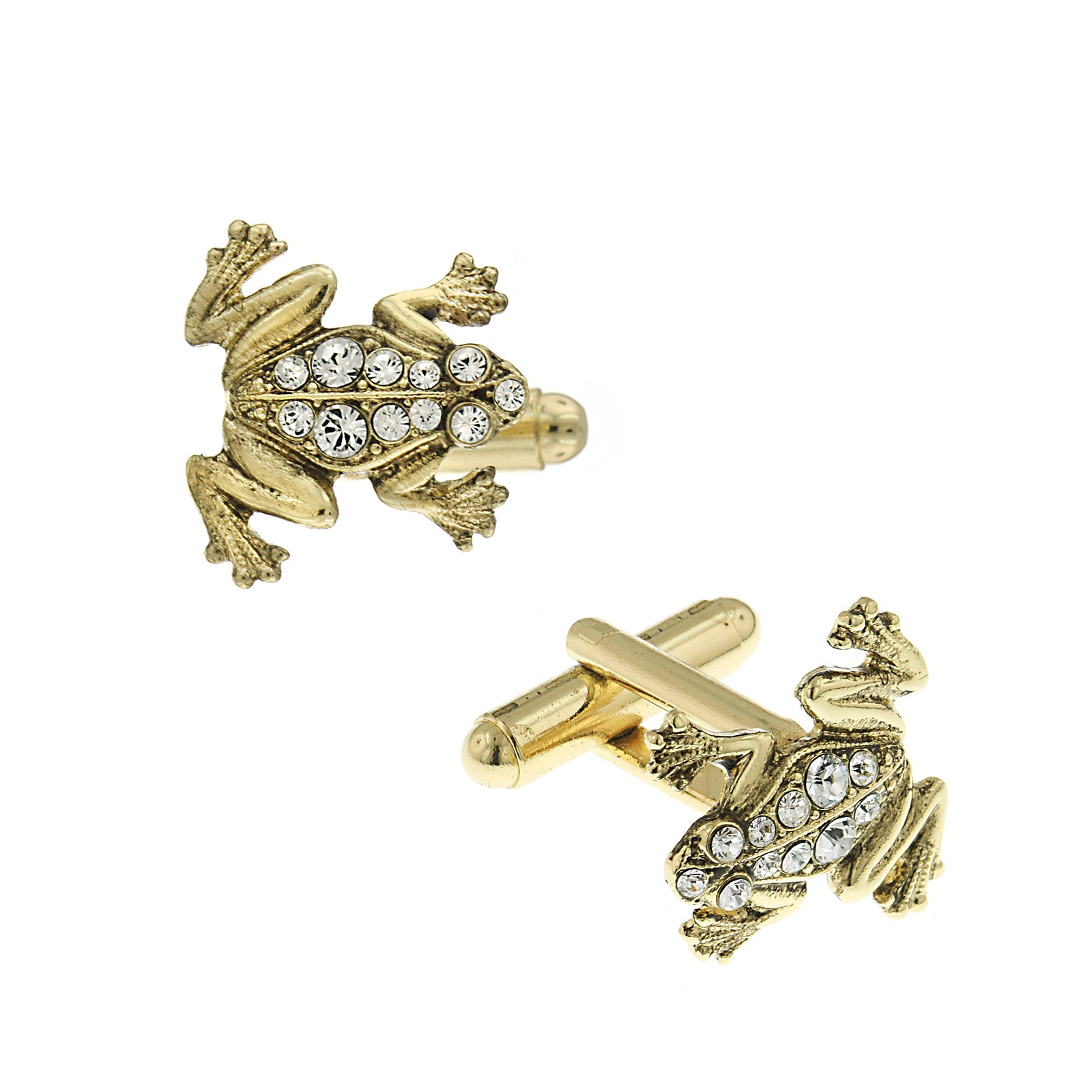 1928 Jewelry Silver-Tone White Crystal Frog Cuff Links