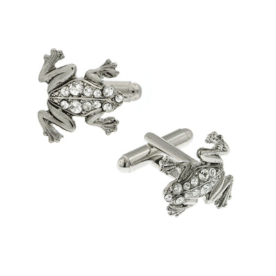Silver Tone Crystal Speckled Frog Cuff Links