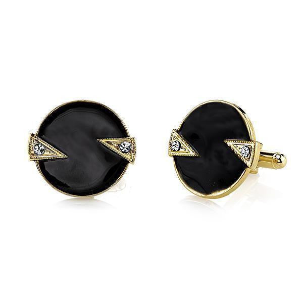 14K Gold Dipped Crystal and Black Enamel Round Cuff Links