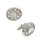 Silver Tone Lattice Crystal Cufflinks