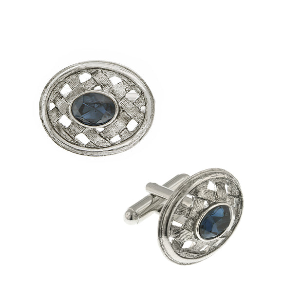 Silver Tone Lattice Blue Crystal Cufflinks