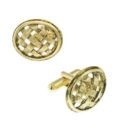 14K Gold Dipped Oval Basket-Weave Lattice Cufflinks
