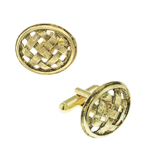 14K Gold Dipped Oval Basket Weave Lattice Cufflinks