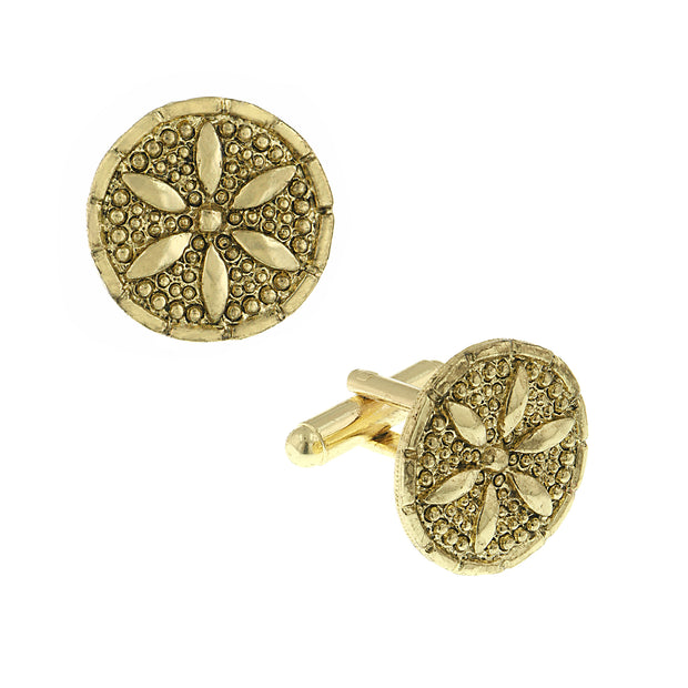 14K Gold Dipped Round Cufflinks