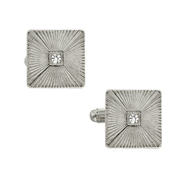 Silver Tone Crystal Square Cufflinks