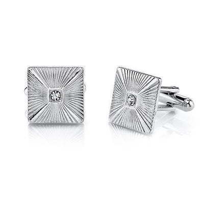 1928 Jewelry Silver-Tone Crystal Square Cufflinks