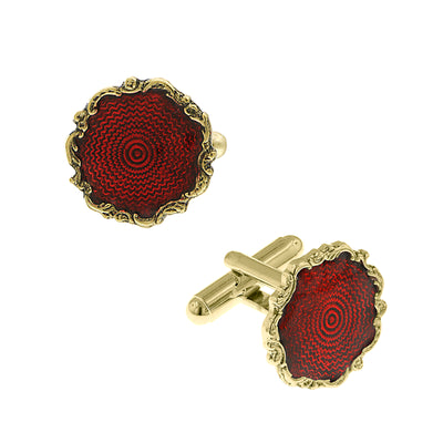 Fashion Jewelry - 14K Gold-Dipped Framed Red Enamel Cuff Links