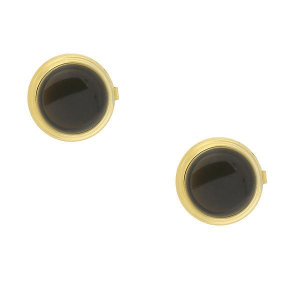 14K Gold-Dipped Blue Enamel W/ Transparency Button Cover BLACK