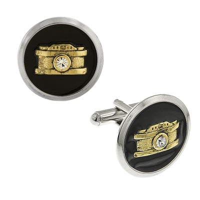 1928 Jewelry Silver-Tone and 14K Gold-Dipped Black Enamel Crystal Camera Cufflinks