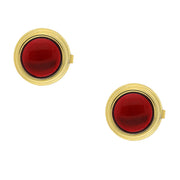 14K Gold-Dipped Blue Enamel W/ Transparency Button Cover Red