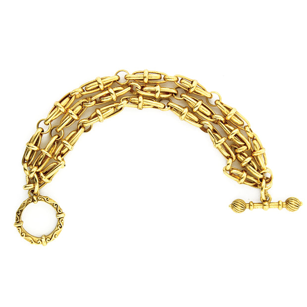 Gold-Tone Three Tier Chain Toggle Bracelet