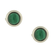 Silver-Tone Genuine Semi-Precious Stone Round Button Covers Malachite