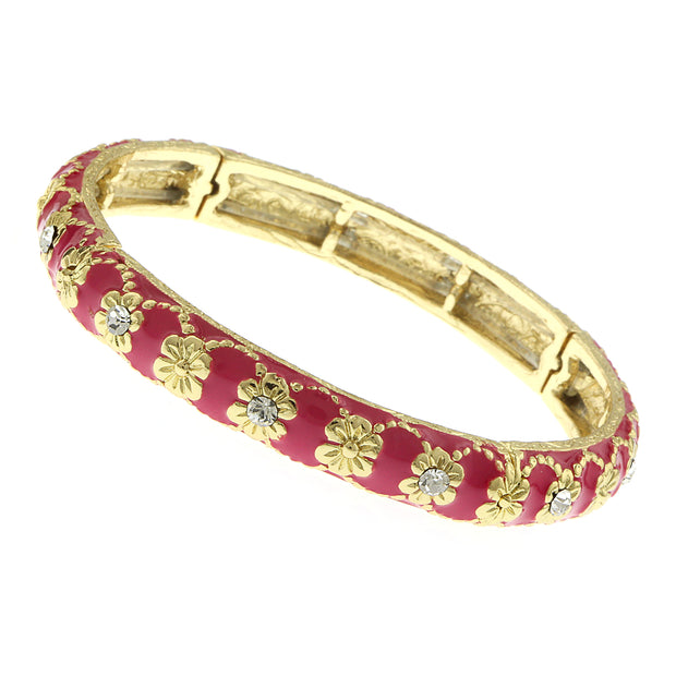 Gold Tone Crystal With Pink Enamel Stretch Bracelet