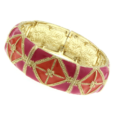 Gold Tone Rose Pink And Coral Wide Enamel Stretch Bracelet