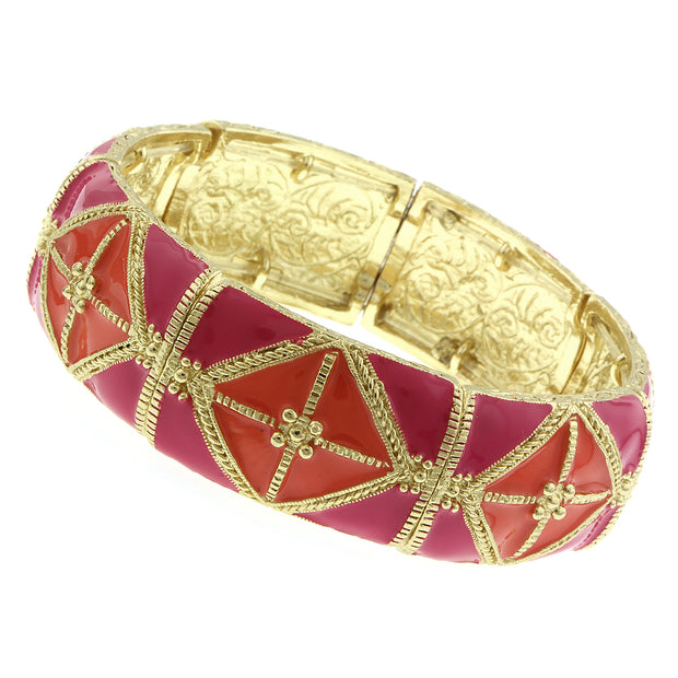 Gold-Tone Rose Pink And Coral Wide Enamel Stretch Bracelet