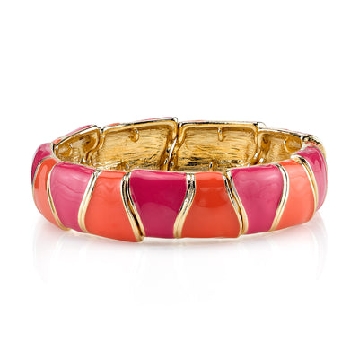 Gold Tone Rose And Coral Enamel Stretch Bracelet