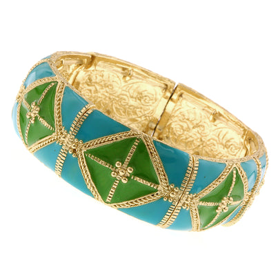 Gold Tone Turquoise And Green Wide Enamel Stretch Bracelet