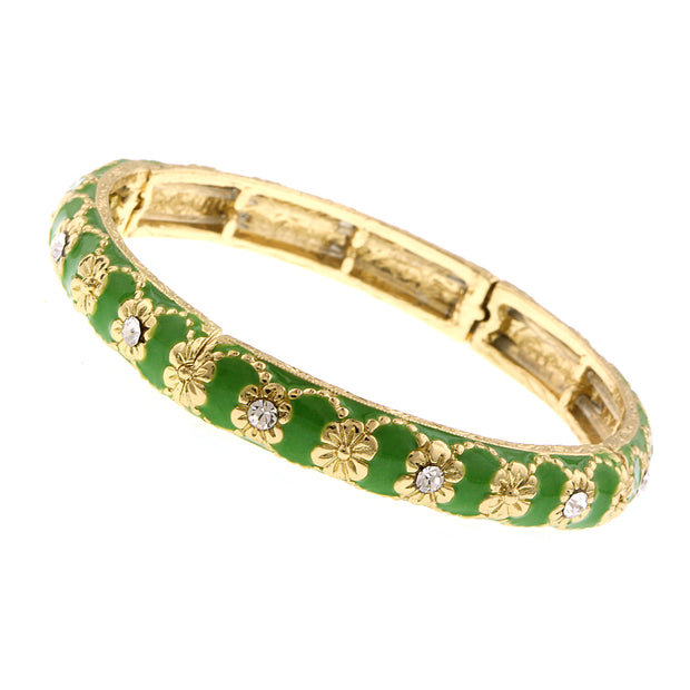 Gold Tone Crystal With Green Enamel Stretch Bracelet
