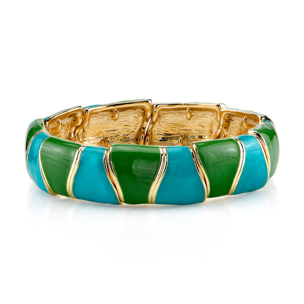 Gold Tone Turquoise And Green Enamel Stretch Bracelet