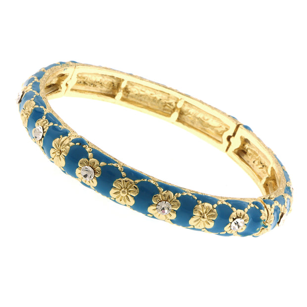 Gold Tone Blue Zircon W/ Crystal Accent Enamel Stretch Bracelet
