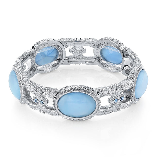 Silver Tone Oval Blue Moonstone Stretch Bracelet
