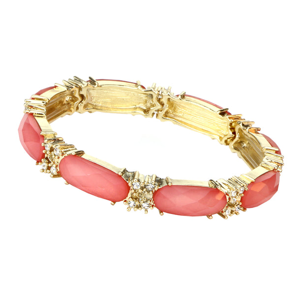 Gold Tone Orange With Crystal Stretch Bracelet