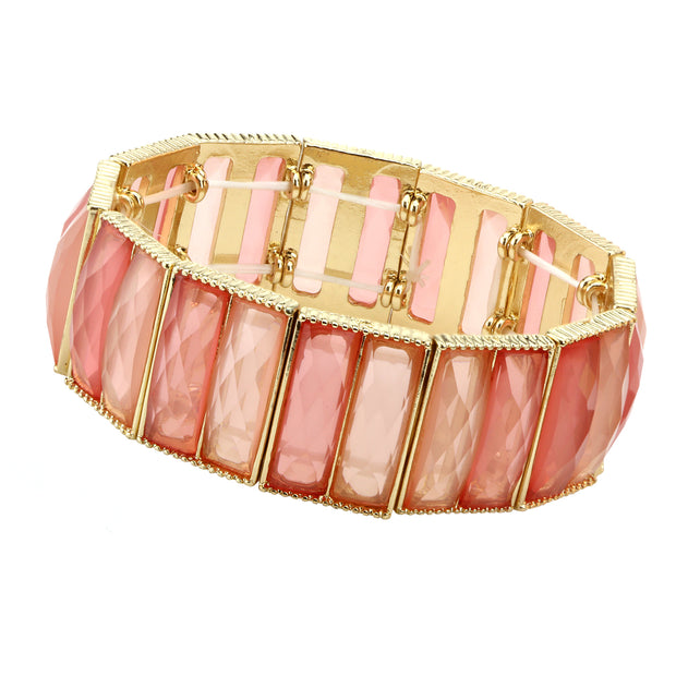 Orange Semi Transparent Baguette Shape Stone Stretch Bracelet
