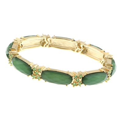 Gold-Tone Green With Peridot Accent Stretch Bracelet