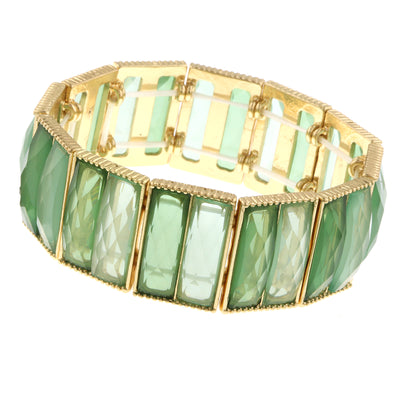 Light Green Semi Transparent Baguette Shape Stone Stretch Bracelet