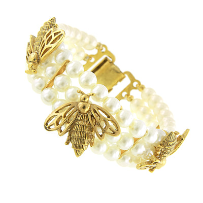 Gold Tone  Costume Pearl Triple Strand Bumble Bee Clasp Bracelet