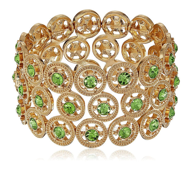 Gold Tone Green Crystal Stretch Armband