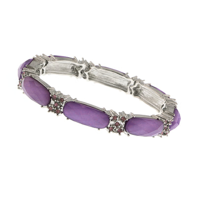 Silver Tone Light Amethyst Purple Crystal Purple Faceted Stretch Bracelet