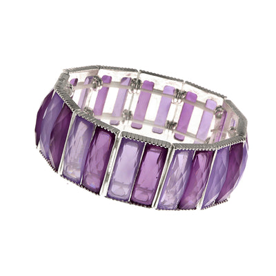 Silver Tone Purple Faceted Stretch Bracelet