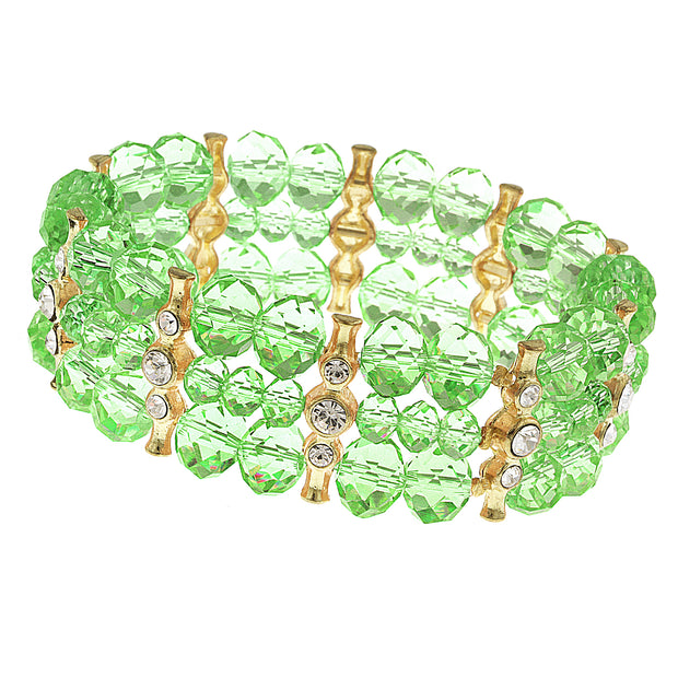 Gold Tone Green With Crystal 3 Row Beaded Stretch Bracelet