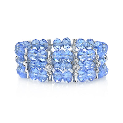 Silver Tone Lt. Sapphire Blue Color With Crystal 3 Row Beaded Stretch Bracelet