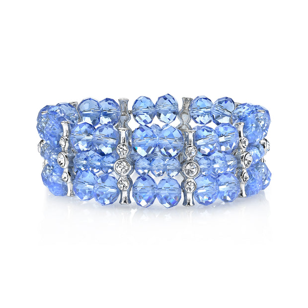 Silver-Tone Lt. Sapphire Blue Color with Crystal 3-Row Beaded Stretch Bracelet