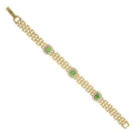 Gold-Tone Green and Crystal Clasp Bracelet