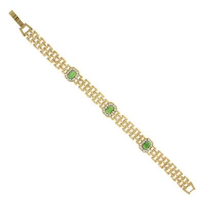 Gold Tone Green And Crystal Clasp Bracelet