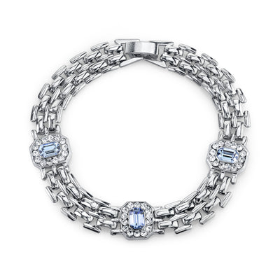 Silver-Tone Lt. Sapphire Blue And Crystal Clasp Bracelet