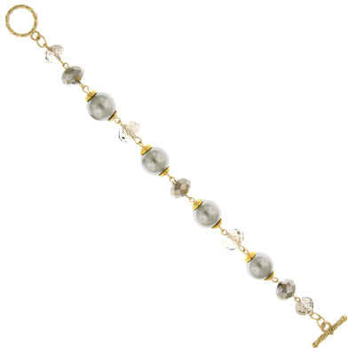 Gold Tone Grey Costume Pearl And Hematite Blk Diamond Toggle Bracelet