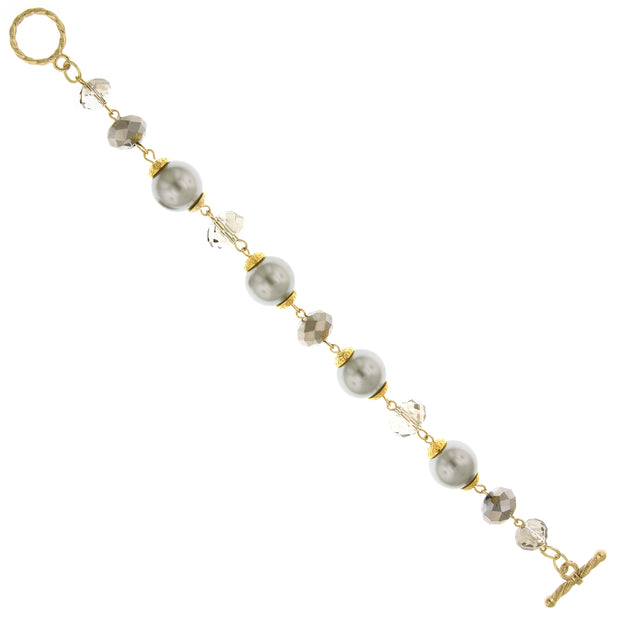 Gold-Tone Grey Costume Pearl And Hematite Blk Diamond Toggle Bracelet