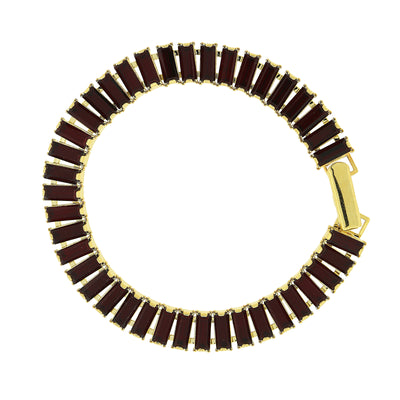 Gold-Tone Siam Red Swarovski Elements Baguette Bracelet