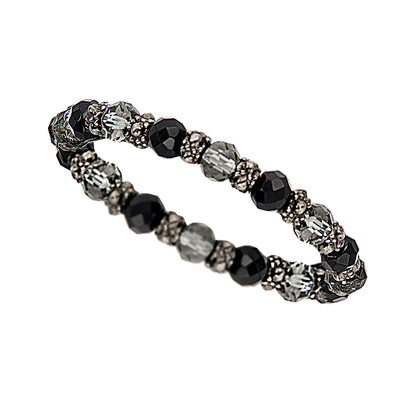 Hematite Tone And Black Beaded Stretch Bracelet