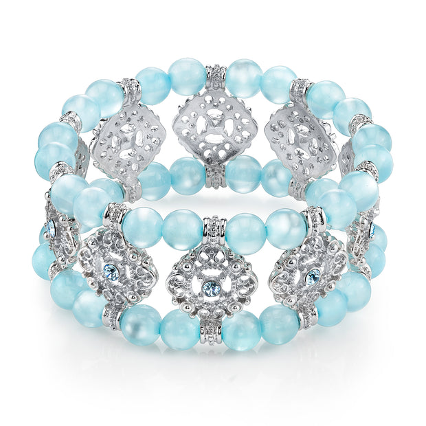 Silver-Tone Blue Stretch Bracelet