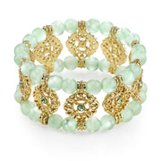 Gold-Tone Green Stretch Bracelet