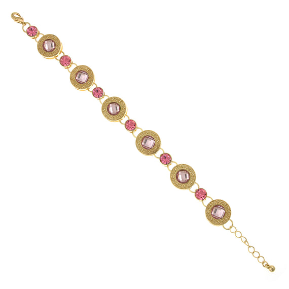 Fashion Jewelry - Gold-Tone Rose and Pink Station Link Bracelet